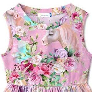 Dresses - 🦄 Pink Multi Color Floral & Unicorn Betsy Dress🦄
